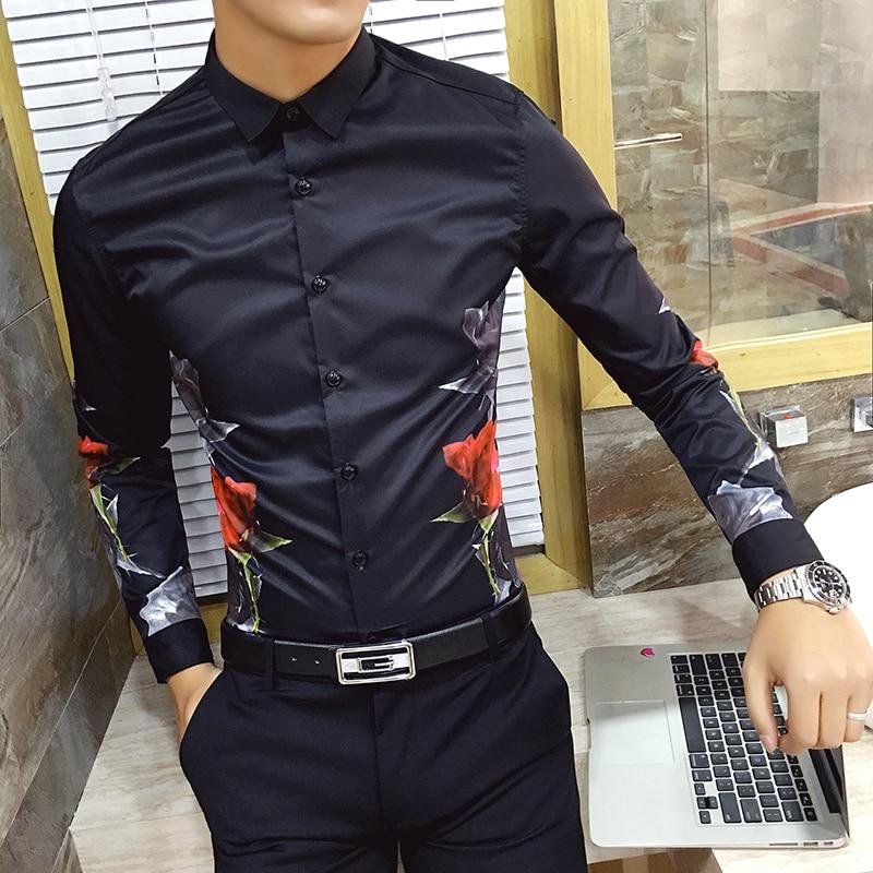 High Quality Men Printed Shirt Long Sleeve 2019 New Casual Shirt Dress Slim Fashion Camisa Masculina Mens Floral Club Prom Shirt