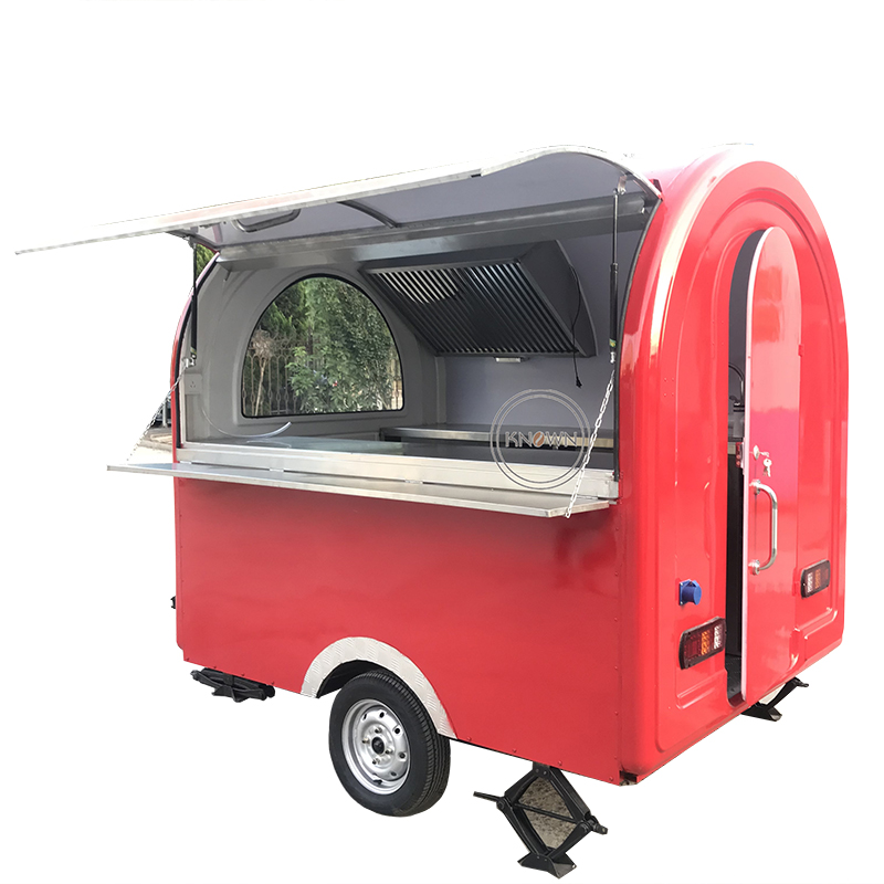 China red color food cart/stainless steel food trailer/whosale price food truck