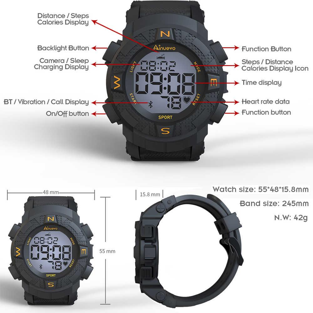 Ainuevo Astuto Della Vigilanza 2020 Man Bluetooth Impermeabile Continuo Monitoraggio della Frequenza Cardiaca Smart Re mi nder amazfit sport xiao mi bambini l9