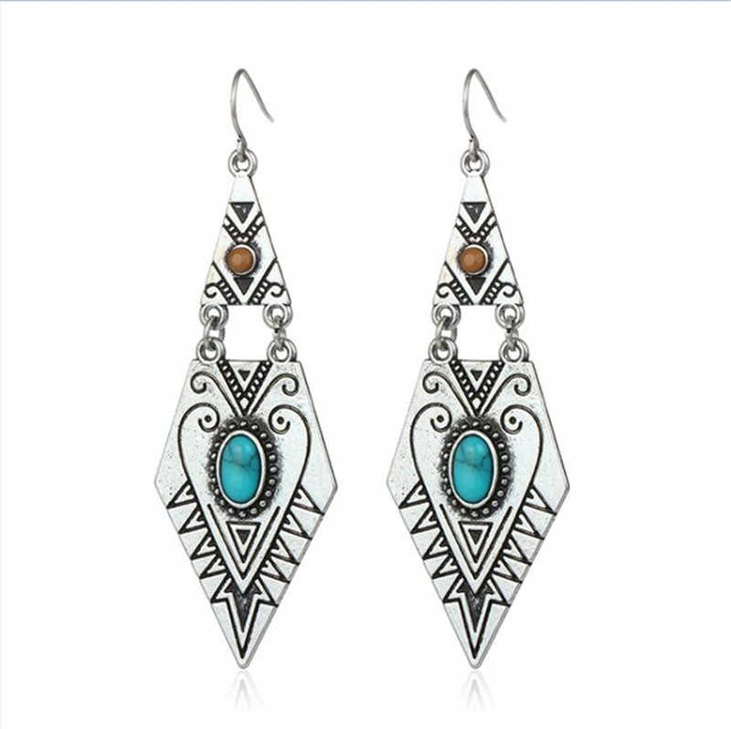2020 Hot Sale Tibetan Long Ethnic Earrings Women Geometric Carved  Blue Stone Big Dangle Earrings Statement Fashion Jewelry