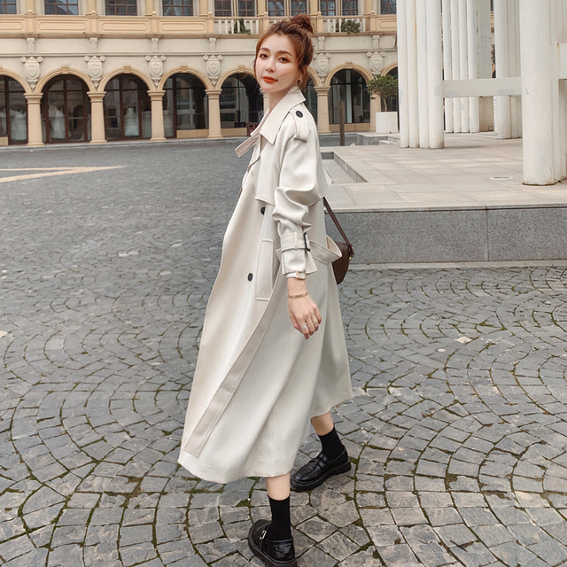 Brand New Fashion Women Trench Coat Beige Long Double-Breasted with Belt Spring Autumn Lady Duster Coat Female Outerwear Quality 1