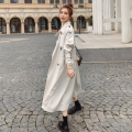 Marke Neue Mode Frauen Graben Mantel Beige Lange Doppel-Breasted mit Gürtel Frühling Herbst Dame Duster Mantel Weibliche Oberbekleidung qualität