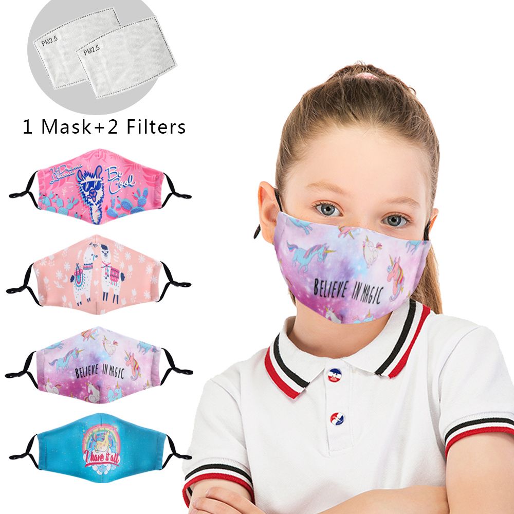 Cute Kids Mask Unicorn Reusable Mouth Mask Washable Protective PM2.5 Filter Anti Dust Face Mask Child Windproof Anti Flu Mask