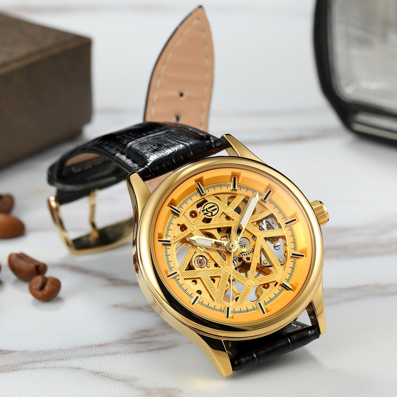 relógio mecânico masculino calendário bussiness couro relogio