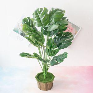 Image 2 - New 18 Forks/Bouquet 54cm Artificial Tropical Palm Leaves Simulation Plants Home Balcony Garden Landscape Decoration Accessories