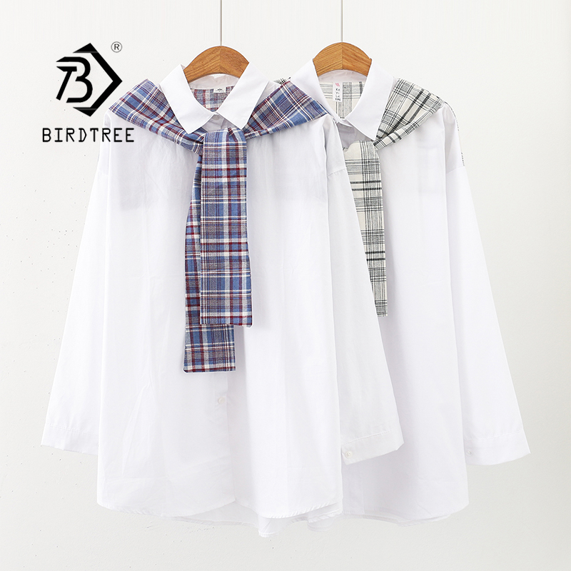 New Arrival Women Plaid Patchwork Turn-down Collar White Shirt Fake 2 Piece Button Up Long Blouse Casual Feminina Blusa T9O901F
