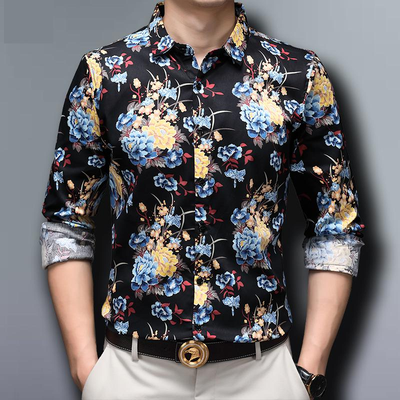 Luxury Elegant Fashion Mens Clothing Gold Leopard Printed Big Size Blouse Cotton Shirt For Mens Wide Dress for Stout Oversize
