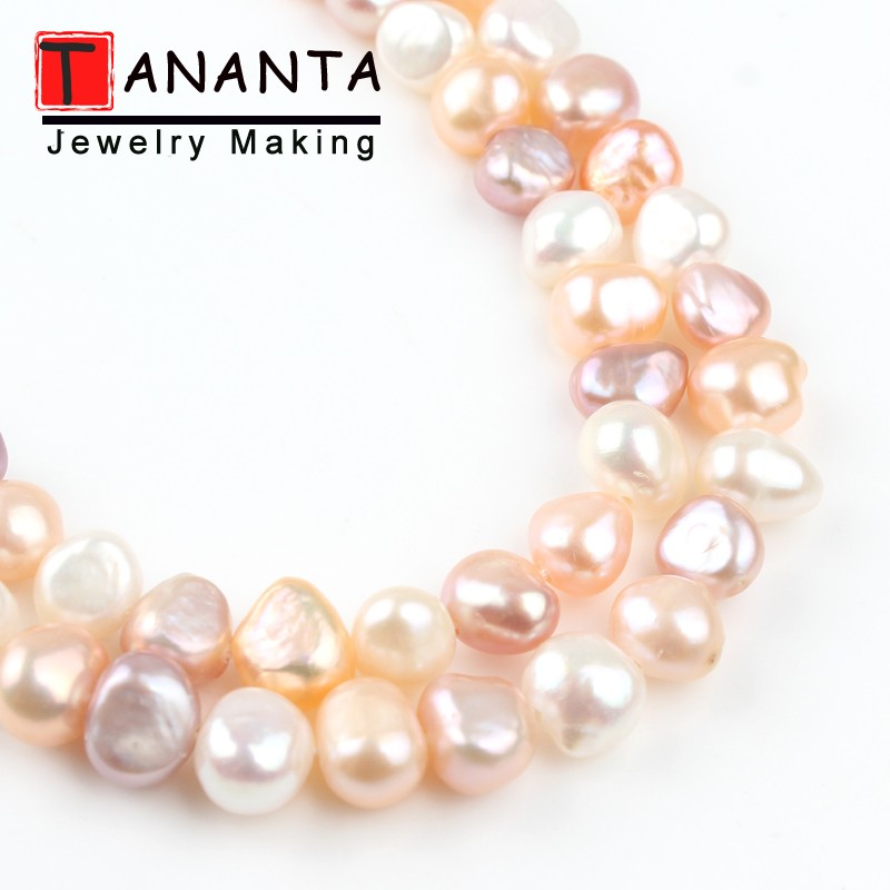 AAA Natural Freshwater Flat Round Pearl 7-8mm White Orange Mix Color Pearls For Jewelry Making DIY Charm Necklace Bracelet 15''