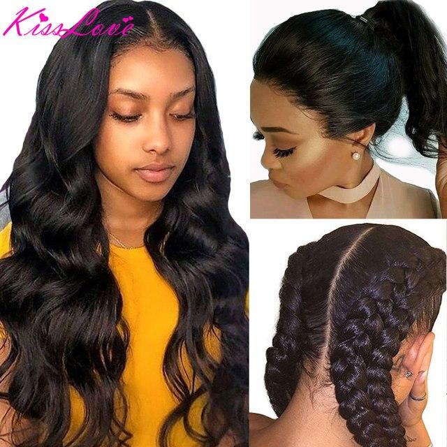 Pelucas de cabello humano con encaje completo para mujeres negras, nudos blanqueados prearrancados, pelucas de encaje completo, cabello brasileño ondulado, beso de amor, cabello Remy