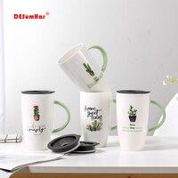 600ml Creative קקטוס דפוס קרמיקה ספל עם מכסה קריקטורה כוסות חלב קפה תה כוס ירוק ידית פורצלן ספלי נחמד מתנות