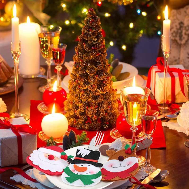 Рождественский обеденный стол Декоративные столовые принадлежности держатели для серебра декоративные футляры вилки Декоративная Сумка Рождественский Санта Клаус/Снеговик/Лось