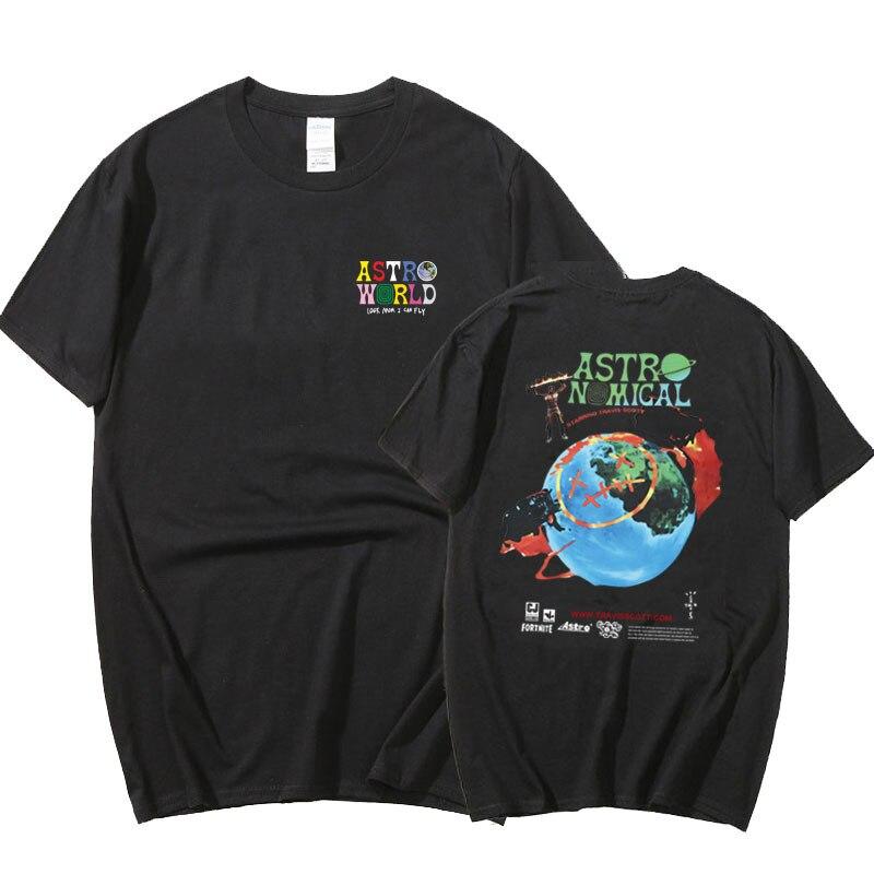 Travis Scott Tshirts ASTROWORLD T Shirt Men Women Summer Harajuku Hip Hop Tee Tops Cactus Jack Print Hip Hop TShirts