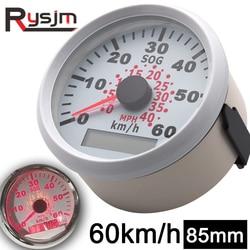 85mm GPS Speedometer for Motorcycle Car Marine Boat ATV 0-40 MPH 0-60 Km/h Odometer Speed Gauge Red 9-32V Waterproof Universal
