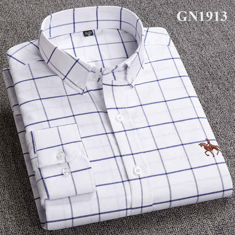 S-6XL Plus size New  OXFORD FABRIC 100% COTTON excellent comfortable slim fit button collar business men casual shirts tops 21