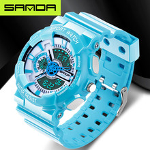 2019 New G Watches Waterproof Sports Military Watches Relojes Hombre Brand SANDA Fashion Watches Men #8217 s LED Digital Watches cheap 25cminch Resin Buckle 3Bar 50mmmm Plastic 14mmmm Hardlex Stop Watch Back Light Shock Resistant LED display Auto Date Chronograph