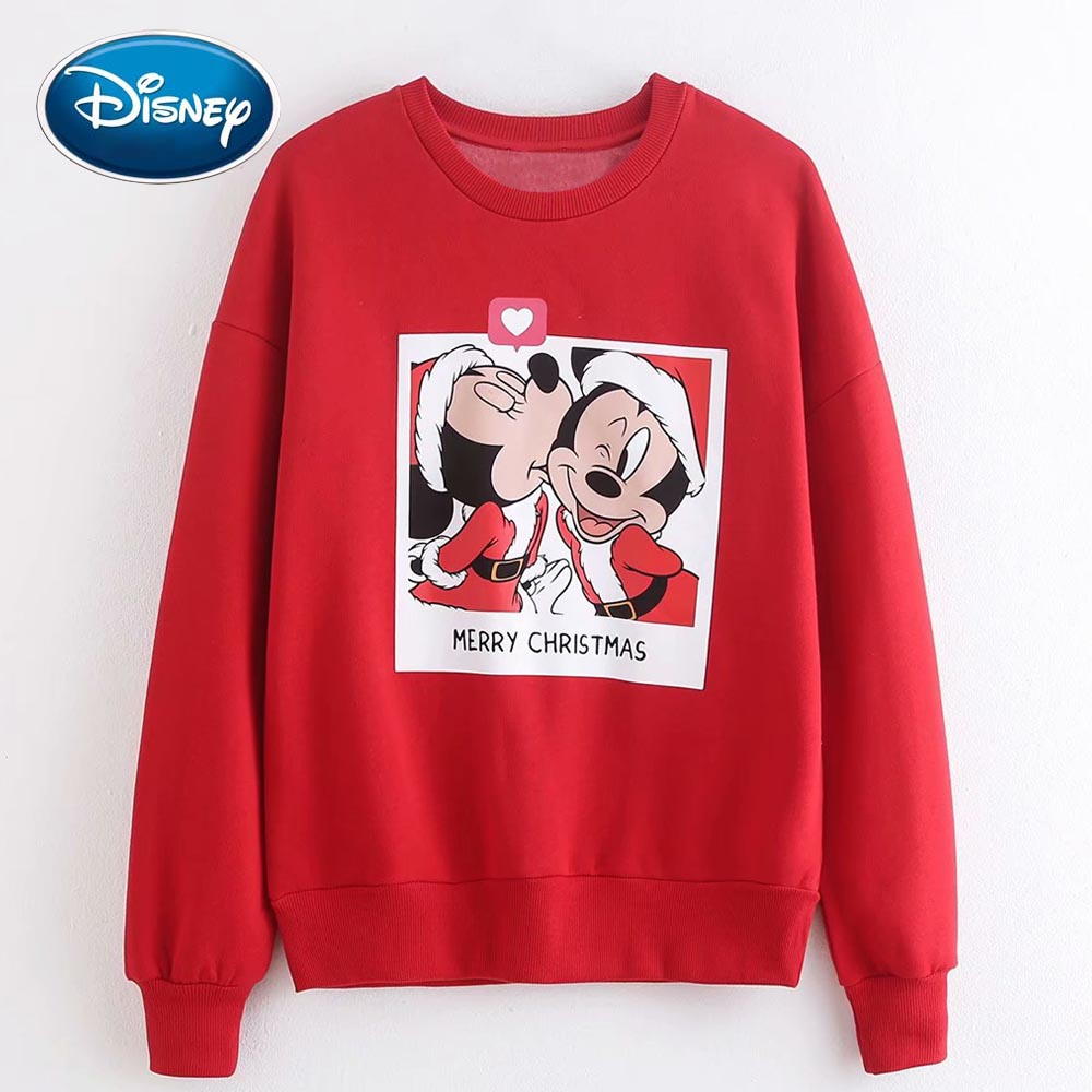 Disney Stylish Mickey Minnie Mouse Cartoon Merry Christmas Letter Print O-Neck Pullover Red Fleece Women T-Shirt Long Sleeve Top