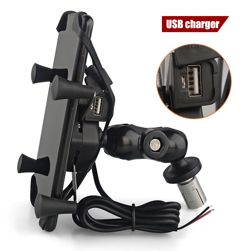 Motorcycle phone Mount Holder with USB Charger Fit for 3.5