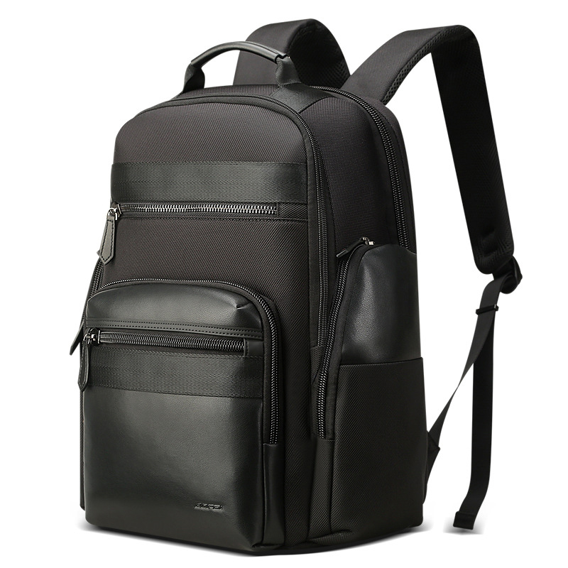 Waterproof Black Nylon Leather Mens Backpack Large Capacity Luxury Backpack With Independent Laptop Bag Weekend Travel Back Pack