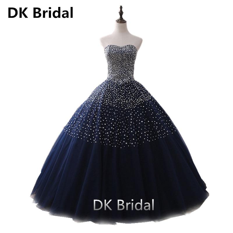 Bleu marine Quinceanera robes robe de bal longue Tulle robes de bal Debutante seize 15 douce 16 robe vestidos de 15 anos 2019