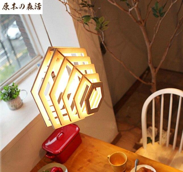 Korean Simple Chinese Wooden Pendant Lamp Modern Fashion Coffee Hall Chandelier Lighting Romantic Pastoral Living Room