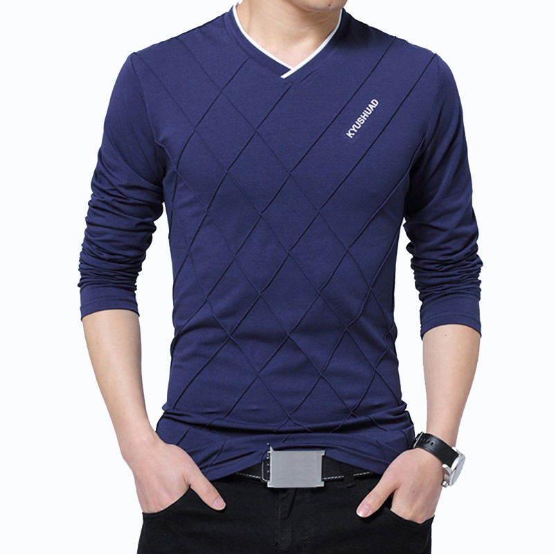 TFETTERS Fashion Men T-shirt Slim Fit Custom T-shirt Crease Design Long Stylish Luxury V Neck Fitness T-shirt Tee Shirt Homme