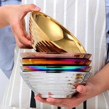 Bol de nouilles instantanées de Ramen d'acier inoxydable japonais d'isolation thermique grand bol de salade de soupe de riz pour la vaisselle de cuisine de Restaurant