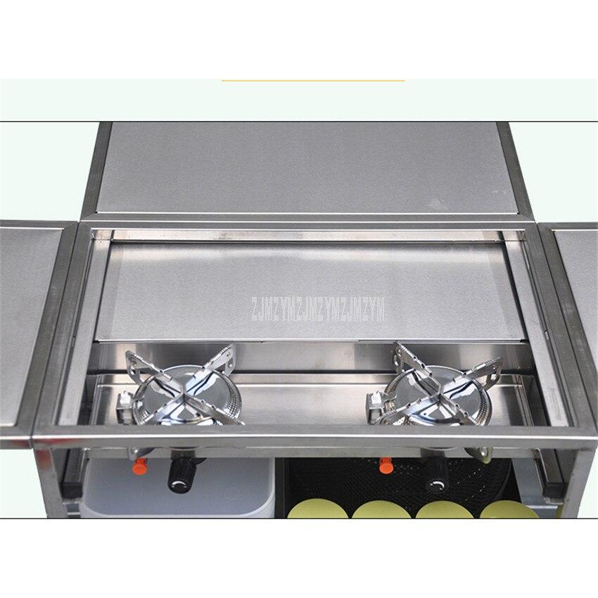 2 3 человека на открытом воздухе Мобильная Кухня 304 из нержавеющей стали складной стол для приготовления пищи Пешие прогулки газовая плита для кемпинга плита + лобовое стекло W450 - 5