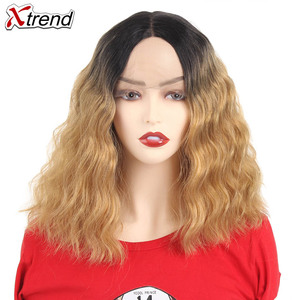 Image 1 - Xtrend Hair Synthetic Lace Front Wig Short Body Wave Middle Part Pelucas De Mujer Black Color 14 Inch Lace Wig