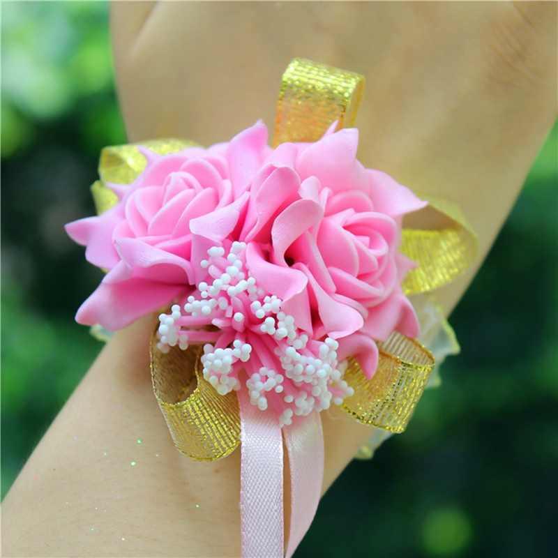 חתונה קישוט mariage עלה יד Corsages יד פרח משי תחרה PE קצף מלאכותי כלות שושבינה יד פרח חג המולד