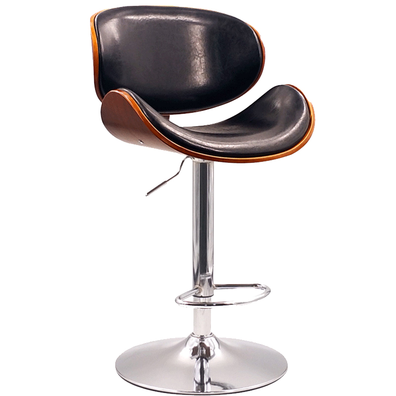 Solid Wood Back Nordic Bar Stool Home Modern Minimalist  Chair Lift Rotating Front Desk High