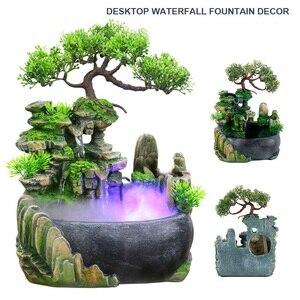 1 zestaw symulacja Rockery wodospad statua żywica wodospad pulpit fontanna Feng Shui nawilżacz do domu wystrój z mgłą/bez mgły