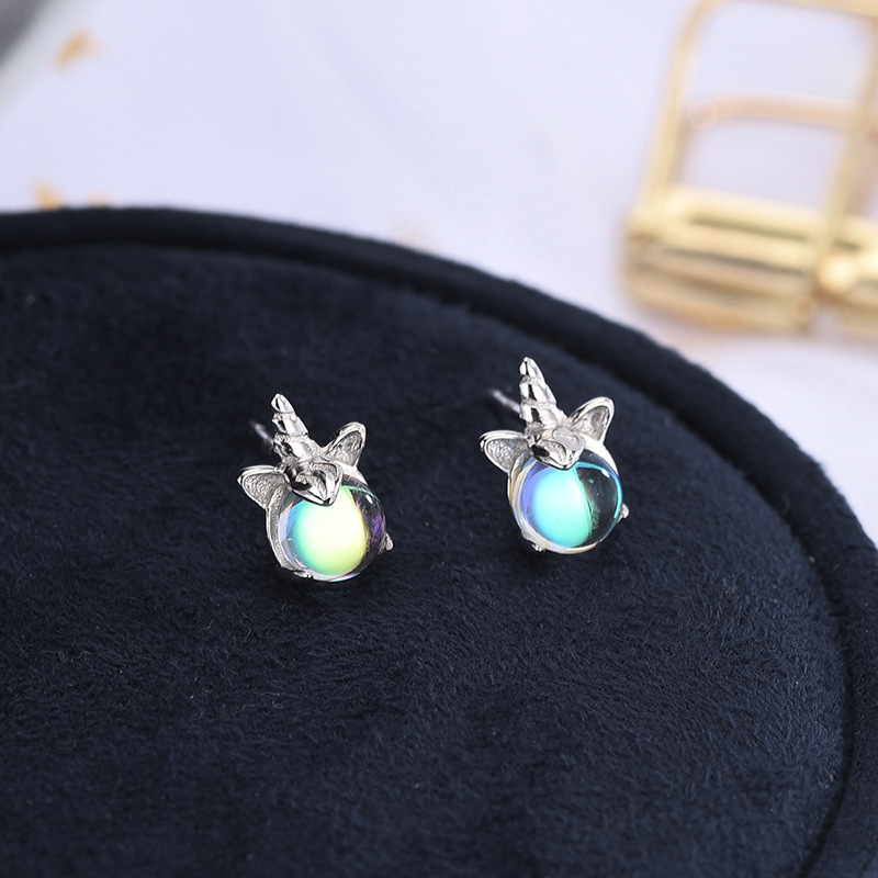 925 Sterling Silver Unicorn Crystal Stud Earrings For Women Wedding Earrings Fashion Anniversary Jewelry Pendientes Eh473