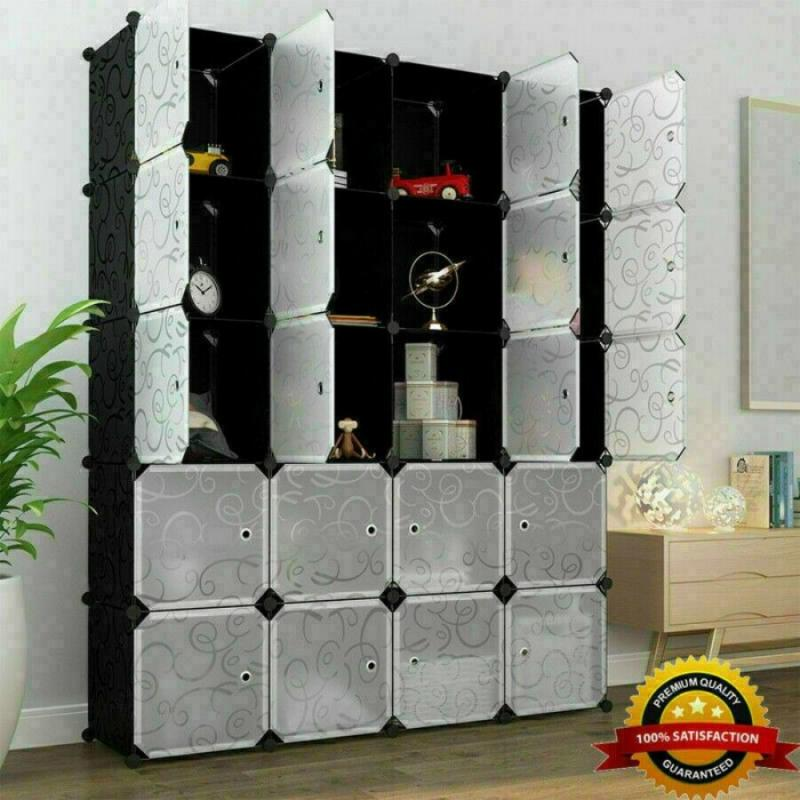 5pcs Home Decoration Wall Stickers Cube DIY Modular Closet Organizer Closet Shelf Clothes Shelf Storage Cabinet Home Decor Room