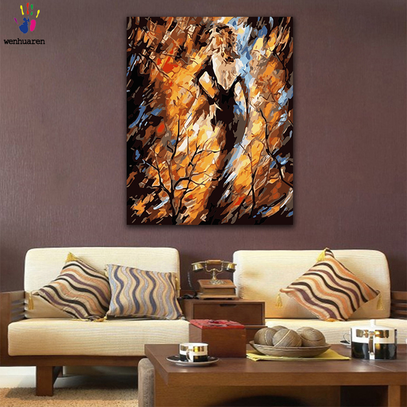 DIY Colorings Pictures By Numbers With Colors Abstract Woman In Dress Picture Drawing Painting By Numbers Framed Home
