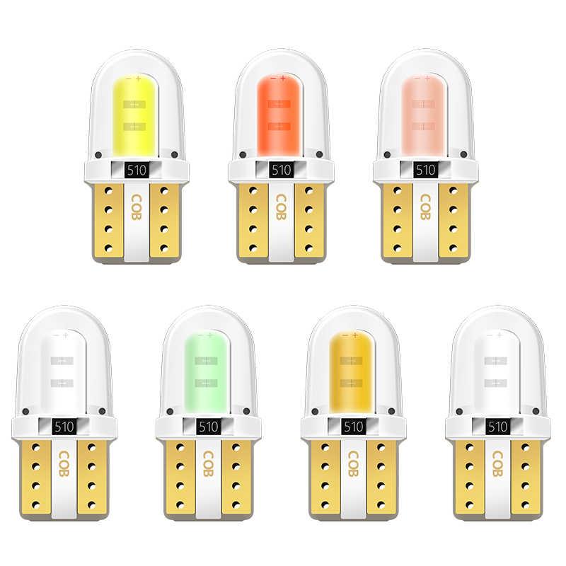 10 Uds T10 W5W funda de silicona COB LED Luz de aparcamiento de coche 501 WY5W cubierta de gel de sílice LED de la cuña de Interior Domo lámpara Auto a lado de la bombilla