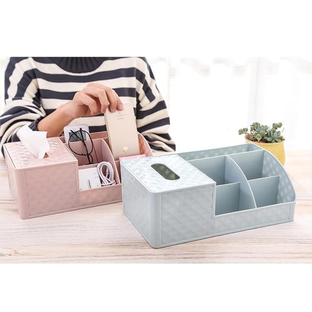 Organisateur de papeterie de table | Boîte à mouchoirs de maquillage rose bleu violet, mallette de maquillage, conteneurs de cosmétiques