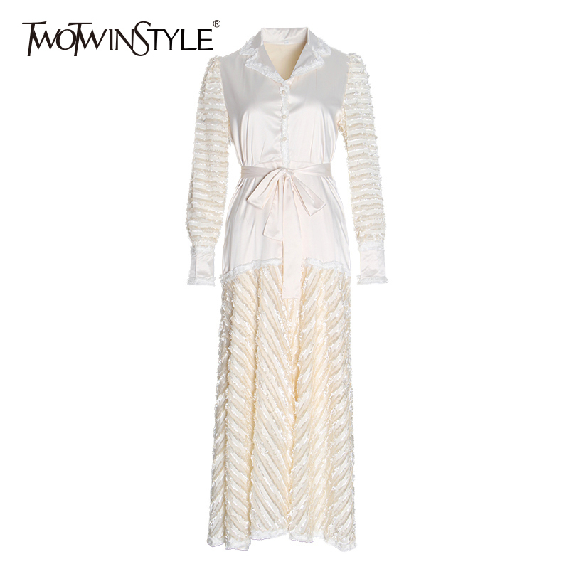 TWOTWINSTYLE Bowknot Patchwork Dress For Women Notched Long Sleeve High Waist Lace Up Dresses Female Autumn Fashion New 2020