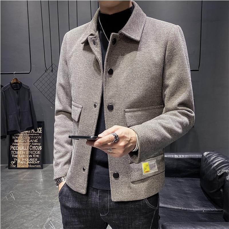 Autumn and Winter Wool Blends Coats Solid Short Men Casual Jackets Mens Overcoat Korean Woolen Windbreaker Brand Clothing