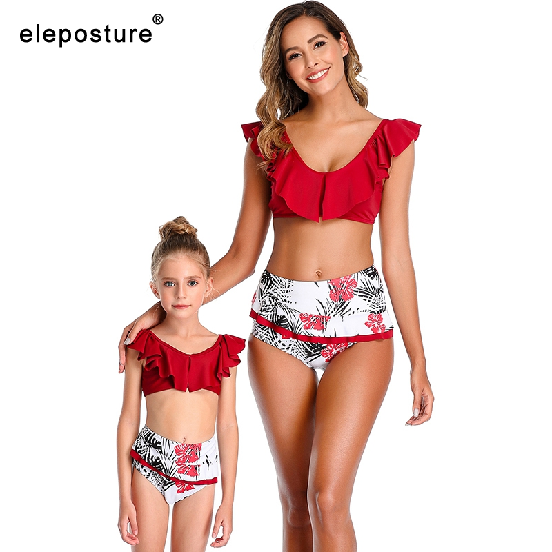 Sexy Bikini Women Swimsuit 2020 Ruffle High Waist Swimwear Print Bikini Set Mother Daughter Swimsuits Mommy And Me Bathing Suits