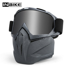 INBIKE Motorcycle Modular Goggles Mask Glasses Filter Mask ATV Off Road Helmet Ski Sport Motor MX Goggles Motorbike Cross Helmet