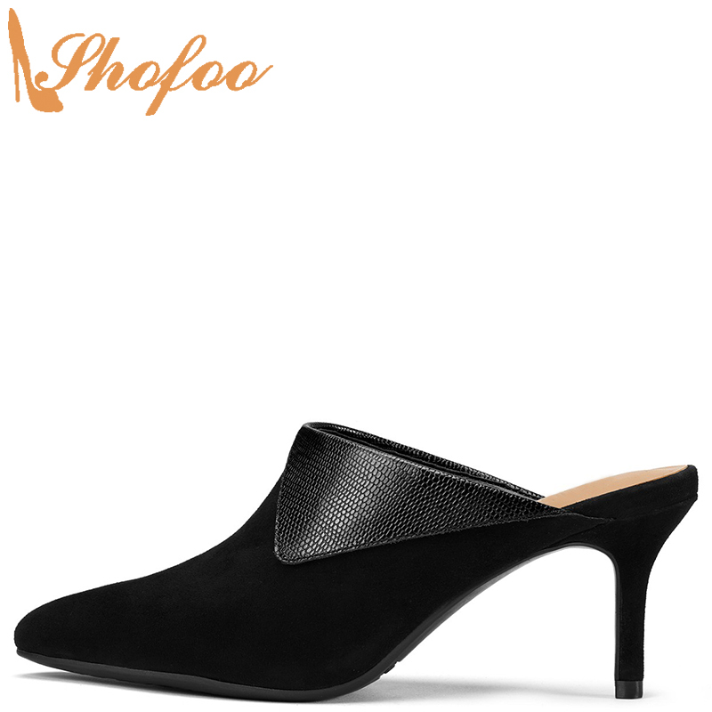 Black Mules Women Outside Slippers Snake Embossed Turned-over Large Size 12 15 Ladies Fashion High Heels Mature Shoes Shofoo