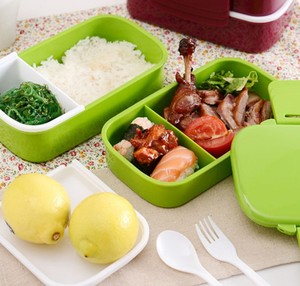 Image 3 - 1400ml Double Layer Plastic Lunch Box Microwave oven Bento Box Food Container Heating Lunchbox lunch box  for kids food box