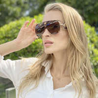 AOZE 2020 new fashion foreskin sunglasses female 2208 beam leather sunglasses Women ins Popular gafas de sol hombre UV