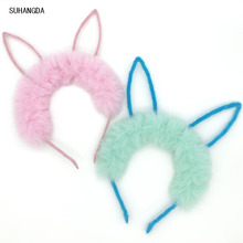 1Pcs New Fashion Cute Children Rabbit Ears Headband Funny Plush Hair Band For Festival Soft Lovely Hairband