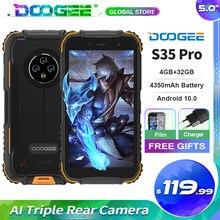 DOOGEE S35 Pro IP68 wodoodporny wytrzymały telefon z systemem Android 10.0 czterordzeniowy 1.8GHz 12nm 4GB + telefon komórkowy 32GB 4350mAh smartfon na baterie