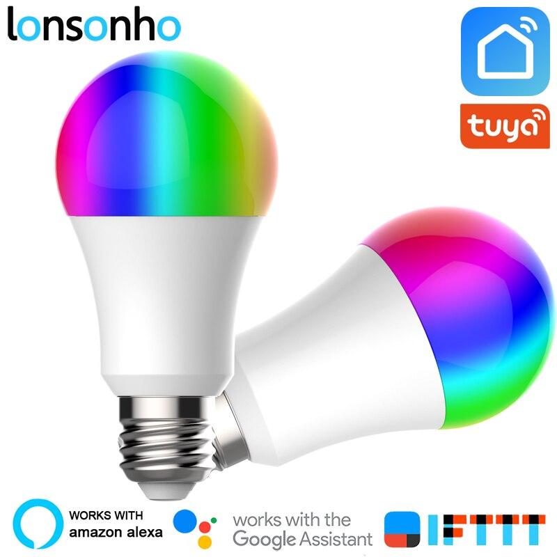 Lonsonho 2 pçs e27 wi fi inteligente lâmpada led rgb + w + c 9 900lm tuya vida inteligente app temporizador dimmer alexa casa do google ifttt