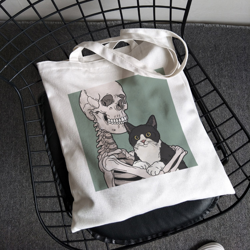 Skull and Cute Cat cartoon print Women Vintage casual chic women zipper fashion large capacity canvas new Goth ins shoulder bags|Shoulder Bags| - AliExpress