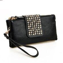 Punk PU Leather Wallet Fashion Women Rivet Decoration Purse Large Capacity Ladies Card Holder Black Leopard clutch sale