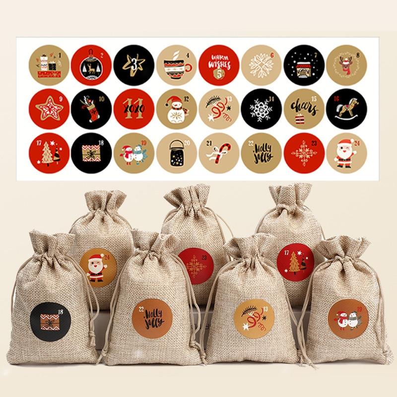 24 шт./компл. с Рождеством и новым календарем, бумажная наклейка с номером печенья, конфетная печать, рождественские украшения, сделай сам, по...