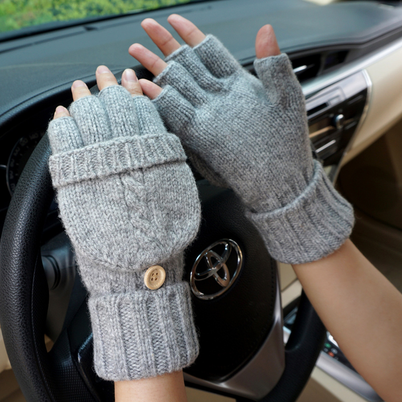 Fashion Women Fingerless Gloves Female Wool Winter Driving Mittens Knitted Thick Warm Flip Half Finger Gloves Free shipping